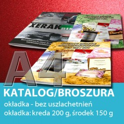 Katalog A4, 24 strony: 4+20, okładka bez uszlachetnień, papier: okładka 250 g, środek 130 g