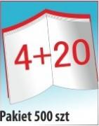 Katalog A4, 24 stron, zszywanie po dłuższym boku, nakład 500 szt