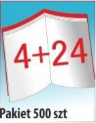 Katalog A4, 28 stron, zszywanie po dłuższym boku, nakład 500 szt