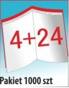 Katalog A4, 28 stron, zszywanie po dłuższym boku, nakład 1000 szt